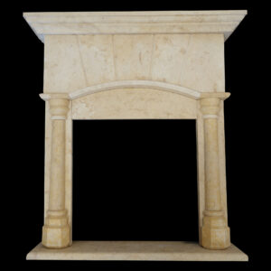 Matt Light Yellow Limestone Fireplace