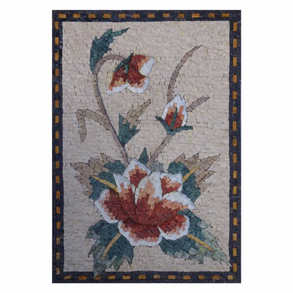 Seductive Flower Bundle Marble Stone Mosaic Art
