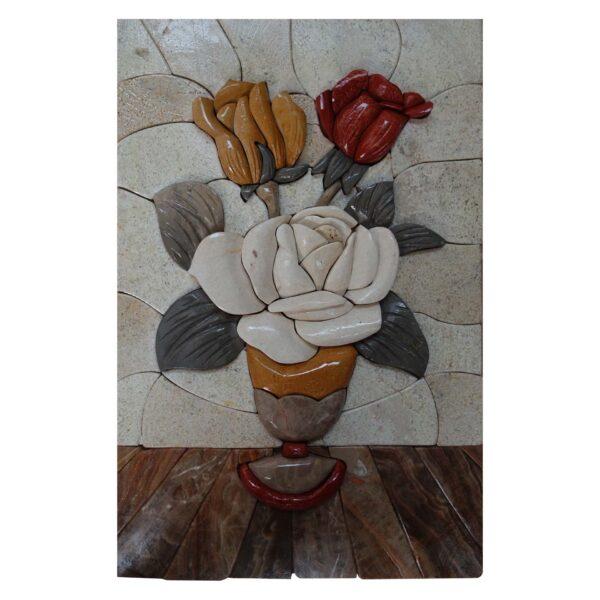 Shiny Multicolored Flowers Bundle Marble Stone Mosaic Art