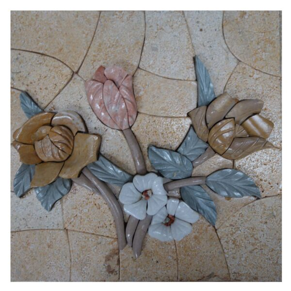Side By Side Flowers (Left) Marble Stone Mosaic Art