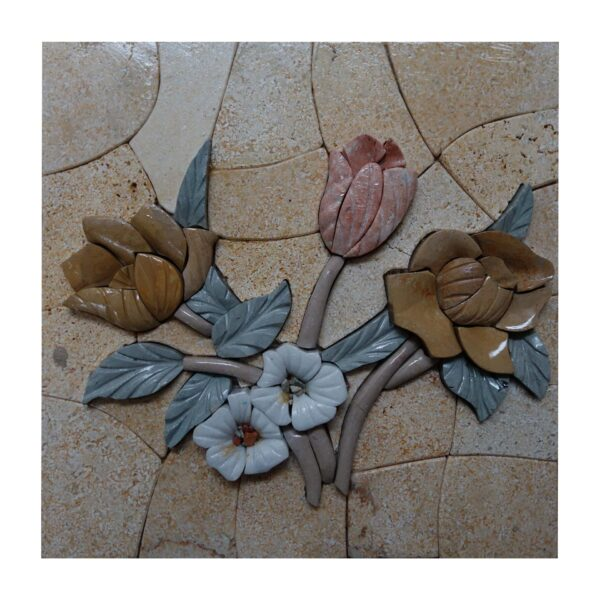 Side By Side Flowers (Right) Marble Stone Mosaic Art