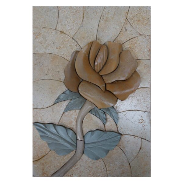 Single Yellow Flower (Left) Marble Stone Mosaic Art
