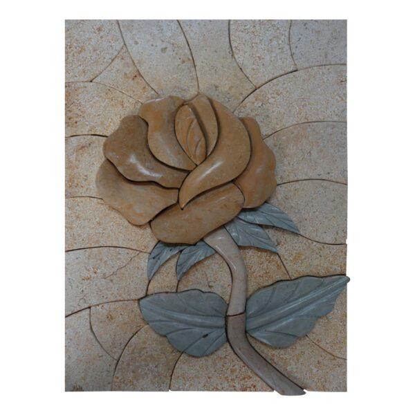 Single Yellow Flower (Right) Marble Stone Mosaic Art
