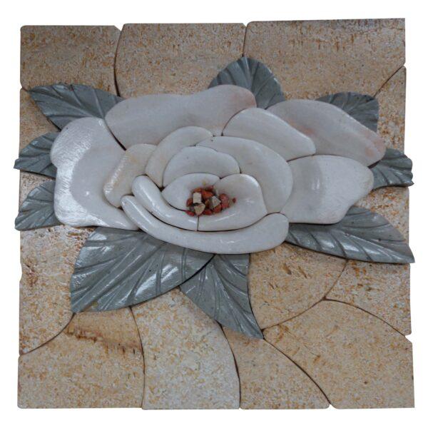 Snowy white rose marble, rocky mosaic art