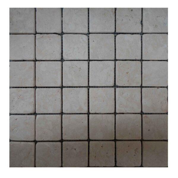 Split face White Limestone Mosaic tiles