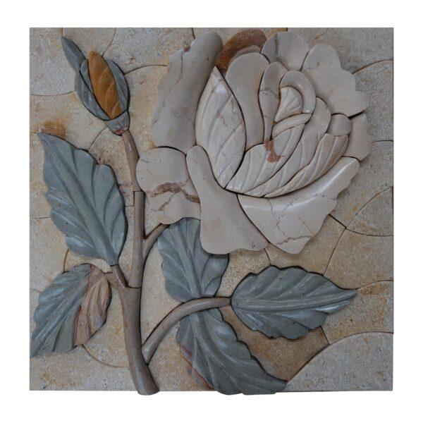 Spring White Rose Marble Stone Mosaic Art