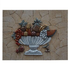 Stylish Multicolored Fruits Basket Marble Stone Mosaic Art