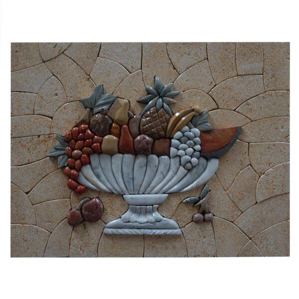 Stylish Multicolored Fruits Basket Marble Stone Mosaic Art