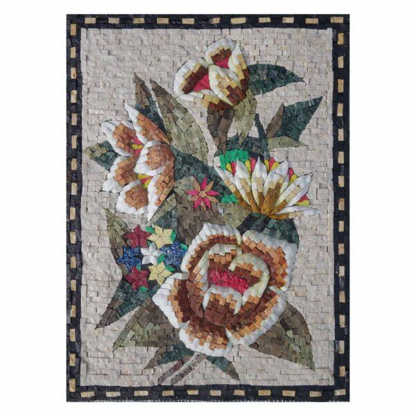 Stylish Multicoloured Flower Bundle Marble Stone Mosaic Art