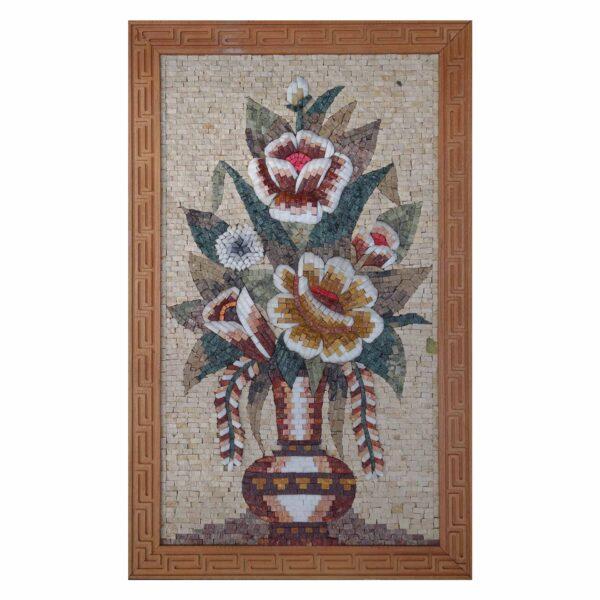 Stylish Multicoloured Flower Vase Marble Stone Mosaic Art