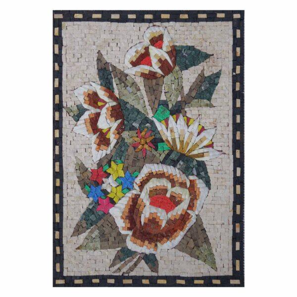 Bright Multicoloured Flower Bouquet Marble Stone Mosaic Art