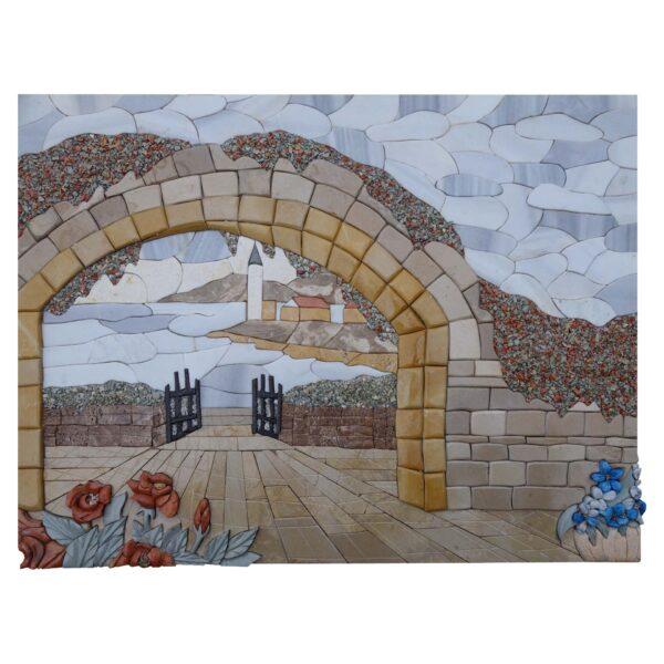 Symbolic Ancient Entrance Marble Stone Mosaic Art