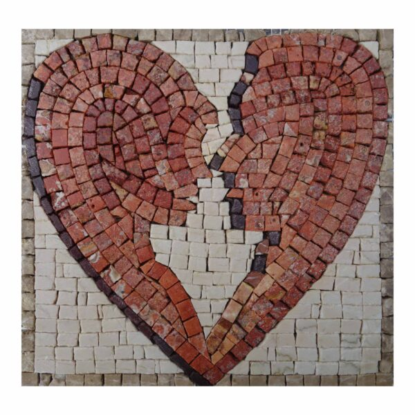 Two Lovers, One Heart Marble Stone Mosaic Art