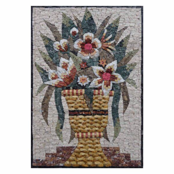 Yellow Flower Basket Marble Stone Mosaic Art