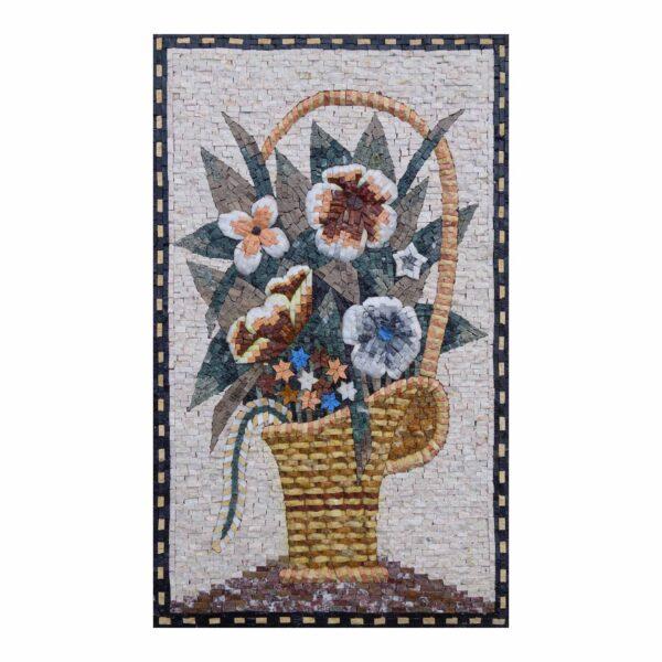 Summer Flower Basket Marble Stone Mosaic Art