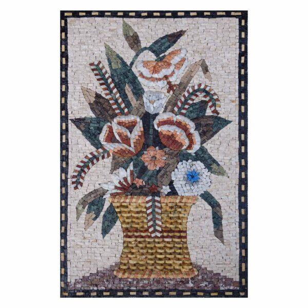 Modern Flower Basket Marble Stone Mosaic Art