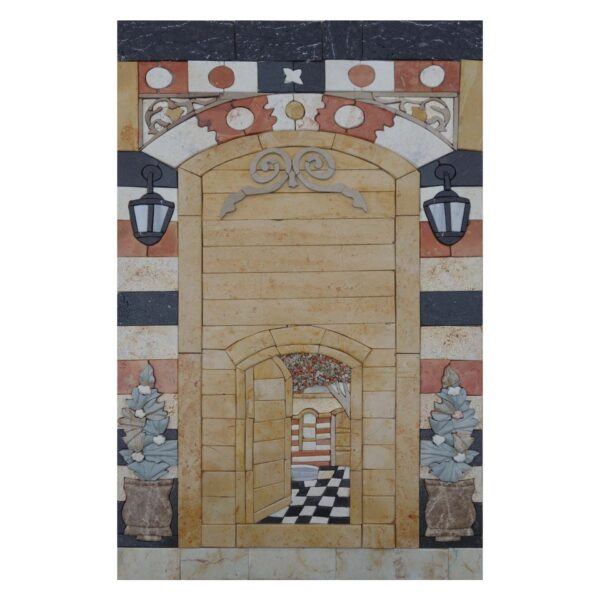 Through The Gate Marble Stone Mosaic Art