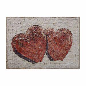 Two Hearts (Dark) Marble Stone Mosaic Art