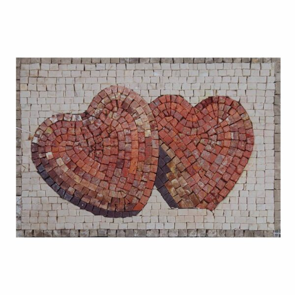 Two Hearts Marble Stone Mosaic Art