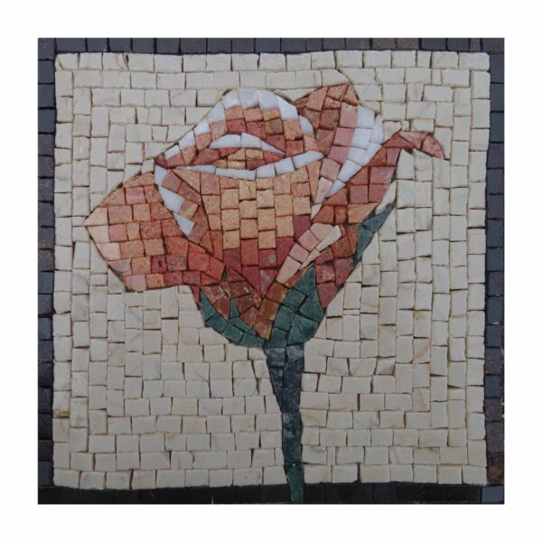 Traditional Red Coloured Flower Marble Stone Mosaic Art