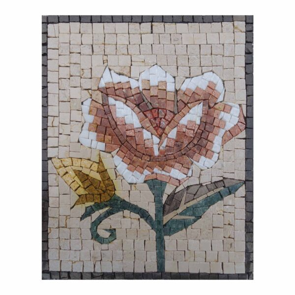 Traditional Multicoloured Bright Flower Marble Stone Mosaic Art