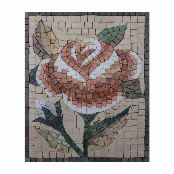 Traditional Multicoloured Flower Marble Stone Mosaic Art
