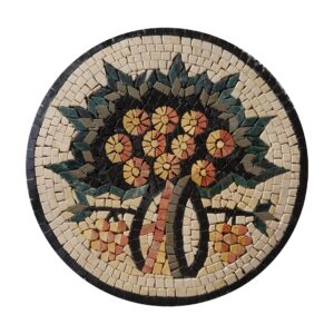 Circular Tree Of Life Black Board Marble Stone Mosaic Art
