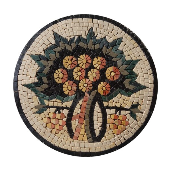 Circular Tree Of Life Black Board Marble Stone Mosaic Art