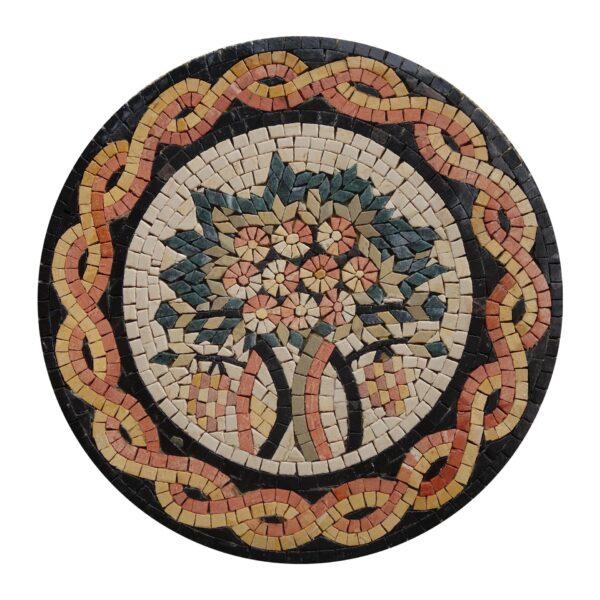 Circular Tree Of Life (Yellow) Marble Stone Mosaic Art