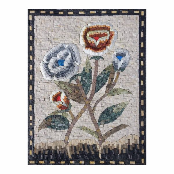 Red and Blue Flowers Marble Stone Mosaic Art
