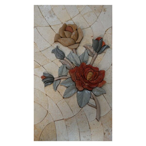 Two flowers One Branch (Left) Marble Stone Mosaic Art