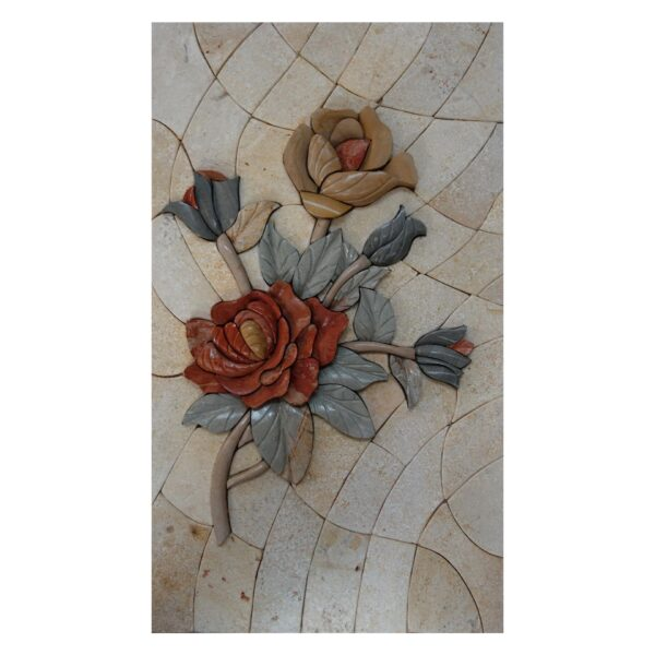 Two flowers One Branch (Right) Marble Stone Mosaic Art