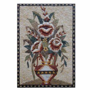 Uniform Multicoloured Flowers Vase Marble Stone Mosaic Art