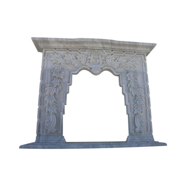 Glazed polished Grey Marble Fireplace