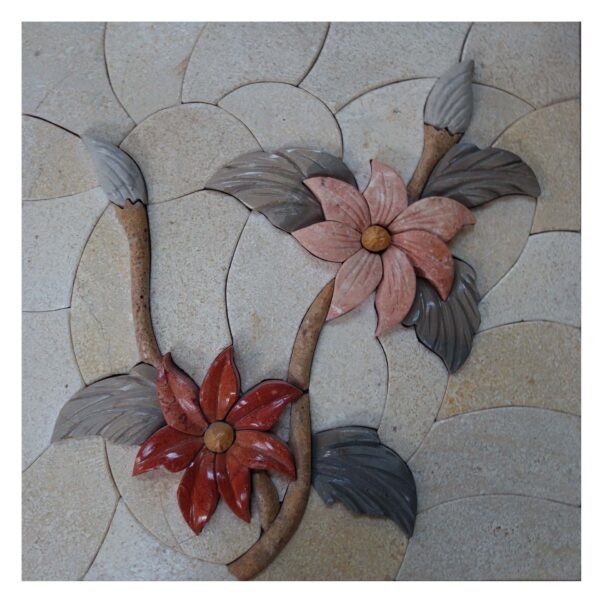 Upside Down Flower Cluster (Right) Marble Stone Mosaic Art