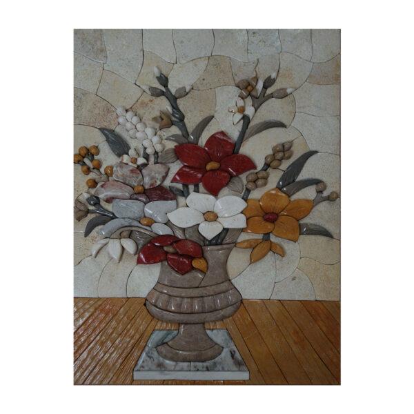 Vase On White Mat Marble Stone Mosaic Art