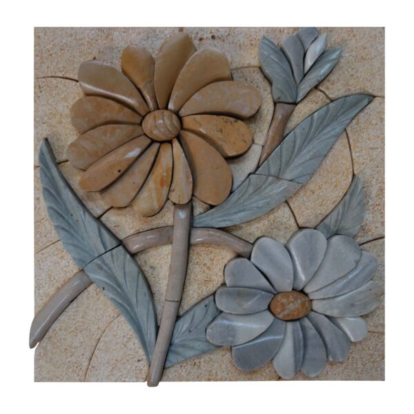Velvety smooth primrose marble, stone mosaic art
