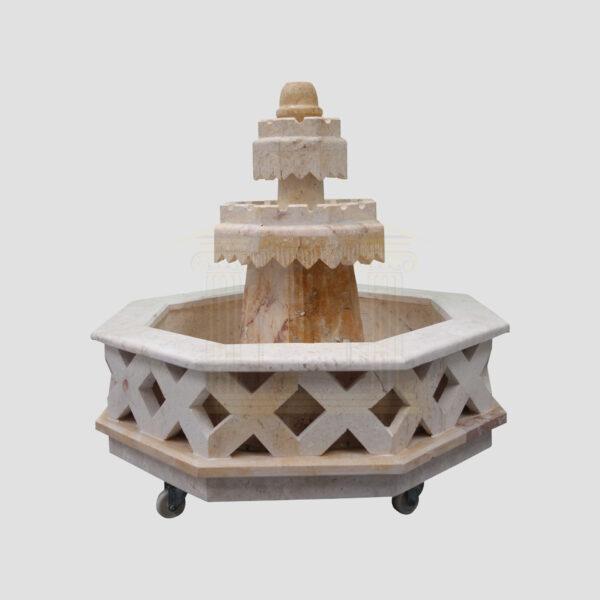 Heptagon LimeStone Fountain
