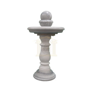 Thin Carrera White Marble Spinning Ball Fountain