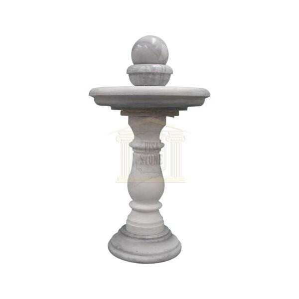 Thin Carrera White Marble Spinning Ball Fountain