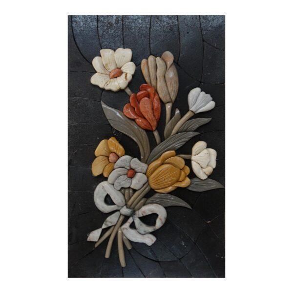White Ribbon Superb Flowers Bundle Marble Stone Mosaic Art