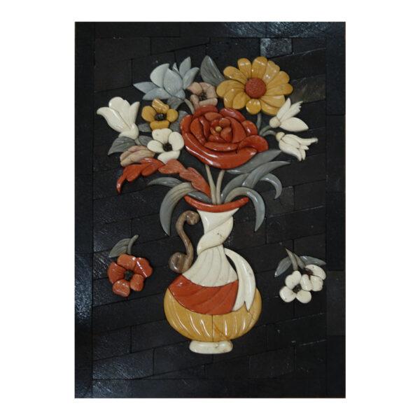 White Scarf Vase Marble Stone Mosaic Art
