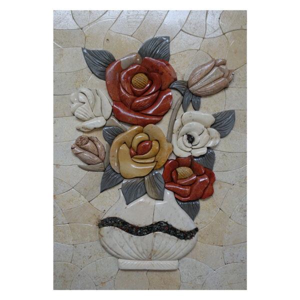 White Vase, Black Swirl Marble Stone Mosaic Art