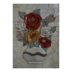 White Vase, Blue Swirl Marble Stone Mosaic Art