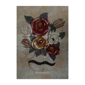 White Vase Red/Yellow Roses Marble Stone Mosaic Art