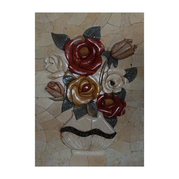 White Vase Red/Yellow Roses Marble Stone Mosaic Art