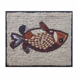 Red Fish Marble Stone Mosaic Art