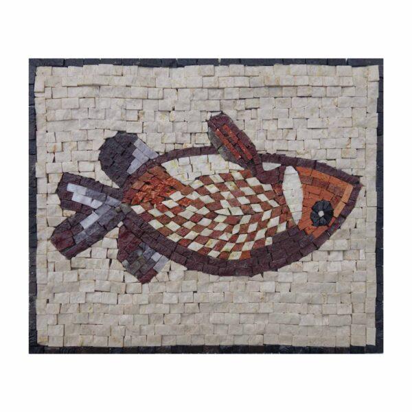 Red Fish Marble Stone Mosaic Art