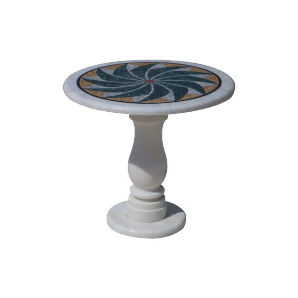 Winglike glazed polished marble mosaic circular table