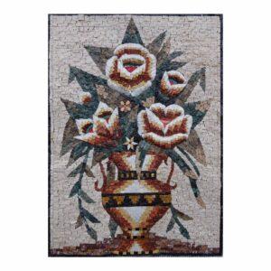 Wonderful Multicoloured Flowers Vase Marble Stone Mosaic Art